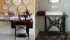 Old Sewing Machines, Entryway Tables, Vanity, Furniture, Home Decor, Google, Bathrooms, Wooden Stools, Rural House