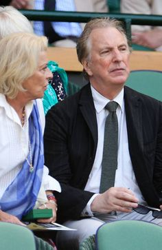 Rickman and Suzanne Bertish sit in the Royal Box on Centre Court before the ladies' singles final match between Sabine Lisicki and Marion Bartoli on day 12 of Wimbledon on July Wimbledon 2013, Alan Rickman Always, Alan Rickman Movies, Sabine Lisicki, Uk Actors, Alan Rickman Severus Snape, Character Quotes, The Championship, Sports Photos