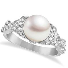 Freshwater Cultured Pearl & Diamond Solitaire Ring 14K by Allurez, $1152.90