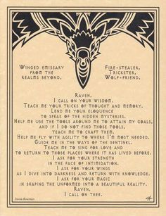 Raven Prayer Poster Wicca Pagan Witch Witchcraft Goth Punk Book of Shadows | eBay