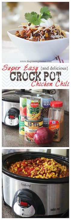 Easy {and delicious} Crock Pot Chicken Chili - thepinningmama.com