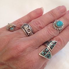 Turquoise inlay wrap ring, great boho look, easy to mix with other rings...bangles...cuffs!