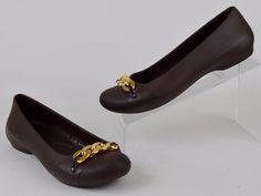 Crocs Gianna Women's Size 7 Brown Croslite Gold Chain Flats Like NU #Crocs #BalletFlats #casual