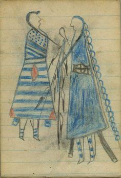 Plains Indian Ledger Art: Wild Hog Ledger-Schøyen - COURTING: Man in Blue Blanket with Beaded Strip Courts Woman in Second-Phase Chief's Blanket