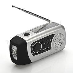 Solar Powered Wind Up Radio (FM oder SD Karte f�r MP3�Spielen) & LED-Taschenlampe & Ladeger�t (USB)�-�Mini, tragbar & PDA�-�F�r Reisen, Camping oder Notfall