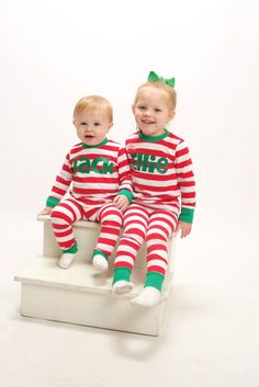 Size 12 months One Set - LIME STRIPES Christmas Pajamas - Baby ...