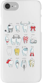 Zähne | Illustration | Comic | iPhone Handyhülle | bunt | Zahnmedizin | Studenten