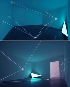 By Carlo Bernardini, working with fibre optic cables he creates each piece with the one special view point that the audience are to view the piece from, I find the intersection points between the glowing lines really fascinating.