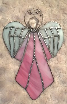 Pink stained glass angel Tiffany růžový anděl