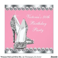 Womans Pink and Silver Birthday Party Invitation