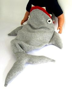 Even in a shark sleepbag - baby is sleeping - http://goodnightcharly.com #baby #love #sleep