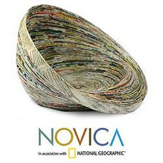@Overstock - From Argentina and Francisco, this charming centerpiece is handmade by young people from Asociacion ADISA. This abstract bowl takes shape from spirals of recycled paper.http://www.overstock.com/Worldstock-Fair-Trade/Recycled-Paper-Waves-Centerpiece-Guatemala/5261220/product.html?CID=214117 $35.99