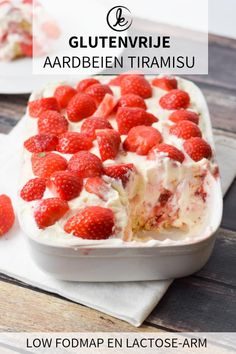 The best gluten-free tiramisu with strawberries. This tiramisu is low lactose an… The best gluten-free tiramisu with strawberries. This tiramisu is low lactose and low FODMAP. A delicious summer dessert! Gluten Free Treats, Gluten Free Cakes, Gluten Free Baking, Gluten Free Desserts, Gluten Free Recipes, Dessert Recipes, Strawberry Recipes Gluten Free, Cookie Recipes, Patisserie Sans Gluten