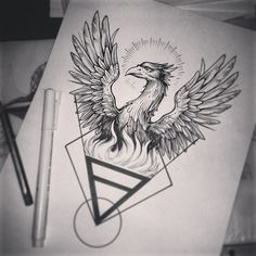 Based on an old engraving #tattooart #tattooflash #phoenix #linework #blackwork #tabuns