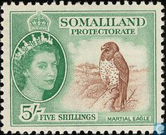 Stamp: Martial Eagle (Polemaetus bellicosus) (British Colonies and Territories) (Somaliland) Mi:GB-SO 129 Uk Stamps, Postage Stamps, King George, African History, Queen Elizabeth Ii, British, Somali, Gallery, Colonial