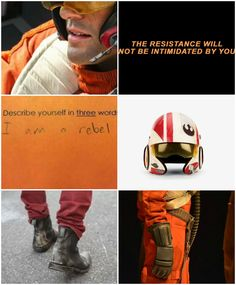 Poe Dameron aesthetic Star Wars The Force Awakens finn rey resistance rebellion (None of the images are mine. Photo editor used: BeFunky)