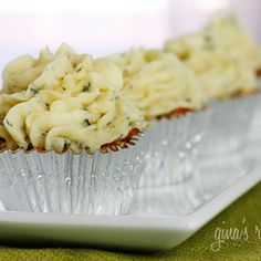 Meatloaf cupcake with mashed potato frosting!  Super cute.