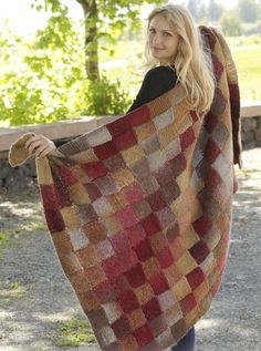 Free knitting pattern for entrelac Domino Blanket