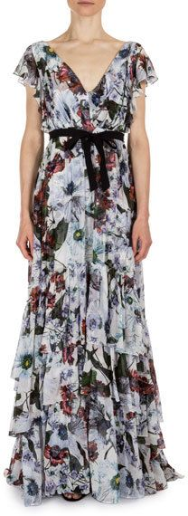 Erdem Perry Floral-Print Flutter-Sleeve Gown, White/Red
