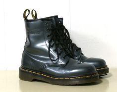 Just bought! Vtg Doc Dr Martens Boots 8 Eye Metallic Pewter Graphite Black Gray UK 4 USA 6 | eBay