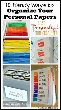DIY Organizing Ideas! Overwhelmed by all the mail and documents you have to keep organized every day? De-clutter and de-stress your life with one of these 10 handy ways to organize your personal papers!