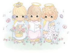 Precious Moments Angels Clip Art & Coloring Pages Precious Moments Quotes, Precious Moments Coloring Pages, Precious Moments Figurines, Bedroom Murals, Kids Bedroom, Decoupage, My Precious, Cute Drawings, Adult Coloring