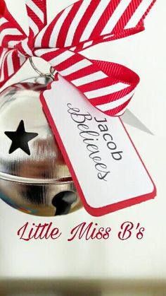 These beautiful bells make the perfect gift for any age this Christmas.  Tags read  The bell still rings for those that truly believe.  Name believes They come ready to hang complete with candystripe white and red ribbon.  Each bell comes in a kraft gift box.  Bells measure 80mm I can get slightly smaller bells measuing 75mm in red, white and gold too. Please contact me for a custom listing