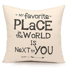 Inexpensive and Cheap Romantic Gifts for Him Acanva Decorative Accent Throw Pillow Cover Cushion Sham Case, Inspirational Sweet Love Quote Print My Favorite Place in. White Decorative Pillows, Decorative Pillow Covers, Throw Pillow Covers, Pillow Cases, Cushion Covers, Large Pillows, Cute Love Quotes For Him, Sweet Love Quotes, Love Is Sweet