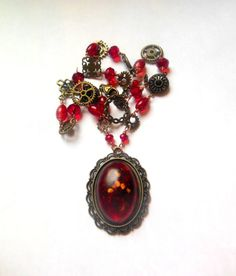 Steampunk goth victorian style necklace with red by shamankailona