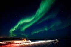 Aurora boreale vicino a Yellowknife, Northwest Territories, Canada, dopo la tempesta solare