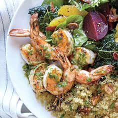 The size of meat portions is shrinking, leaving more room on the plate for heart-healthy seafood. Eat fish more often, and make it pop with this herb- and lemon-packed dressing. Shrimp Dishes, Shrimp Recipes, Fish Recipes, Cooking Light Recipes, Healthy Cooking, Healthy Eating, Healthy Meals, Quick Meals, Clean Eating