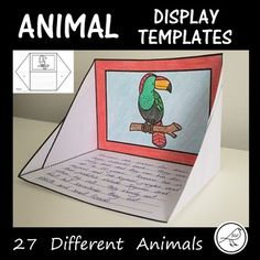 Display Templates - 27 different zoo animals. Suitable for displaying animal facts, poem, etc. Great for presenting independent research. Easy to assemble (cut, fold and glue). Two Options: ♦ Templates with 9 lines for Writing Resources, Classroom Resources, Teacher Resources, Animal Poems, Story Starters, Animal Facts, Activity Sheets, Teaching Materials, Best Teacher