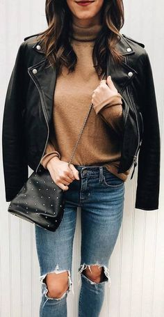 brown sweater, leather jacket, ripped jeans