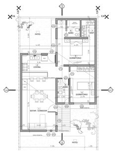 Proyecto Barthel/Musa - Cordoba - Argentina by viola Dream House Plans, Modern House Plans, Small House Plans, Modern House Design, House Floor Plans, Home Design Floor Plans, Plan Design, Small Villa, Architectural Floor Plans