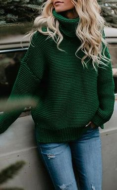 Green Casual Sweater