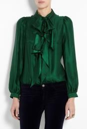 Emerald Green Charlyee Bow Blouse by Milly