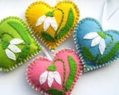 Felt Ornaments Flowers hearts Easter decoration Spring flowers Spring Hanging gift for mother love pink yellow green blue Flower Ornaments, Felt Christmas Ornaments, Handmade Ornaments, Heart Ornament, Handmade Bookmarks, Ornaments Ideas, Embroidery Hearts, Felt Embroidery, Etsy Embroidery