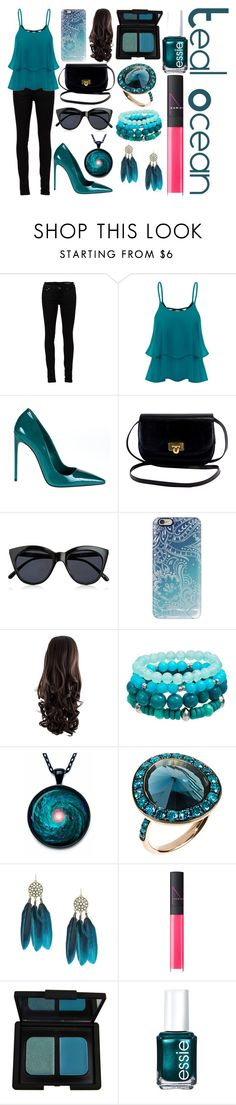"""Teal Ocean"" by the-fashiondesigner ❤ liked on Polyvore featuring Yves Saint Laurent, Miu Miu, Le Specs, Casetify, Annoushka, NARS Cosmetics and Essie"