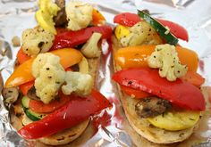 Open-faced Roasted Vegetable Sandwich. Ingredients: cauliflower, potatoes, carrots, bell peppers, zucchini, summer squash, mushrooms, garlic, olive oil, salt and pepper, herbs of your choosing, loaf of  crusty bread, cheese of your choice, humus or borsin. 40 minutes to roast veggies and broil sandwich.