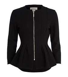 Black textured peplum jacket $70.00