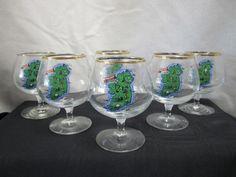 Vintage Ireland Souvenir Glass 6 Irish Snifters Eire Map Highlights Shot Glass
