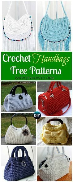 Collection of Crochet Handbag Free Patterns: Crochet Tote Bags, Crochet Handbags, Crochet Bags, Crochet Purses via @diyhowto