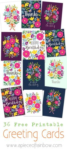 A set of 36 glorious floral printable greeting cards - free templates to download and make your own beautiful Birthday, Thank-you and blank greeting cards! - A Piece Of Rainbow