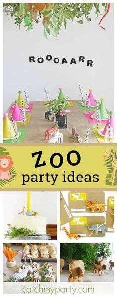 Check out Harry's Zoo birthday party. The table settings and decorations are awesome!! See more party ideas and share yours at CatchMyParty.com