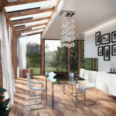 Picture of Modern Dining Room - Winter Garden stock photo, images and stock photography. Wood Pergola Kits, Pergola With Roof, Pergola Plans, Pergola Ideas, Conservatory Flooring, Bungalow Extensions, Flagstone Flooring, Pergola Curtains, Valance Curtains