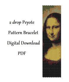 2drop Peyote Pattern Bracelet Mona Lisa .  Instant от HoneyPear, $3.00