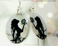 Silhouette Romantic Girl Oval Earrings Cream & Black by MADEbyMADA,