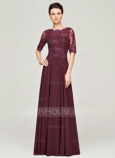 A-Line/Princess Scoop Neck Floor-Length Beading Sequins Zipper Up Sleeves 1/2 Sleeves No 2015 Other Colors Spring Summer Fall General Plus Chiffon Lace Mother of the Bride Dress