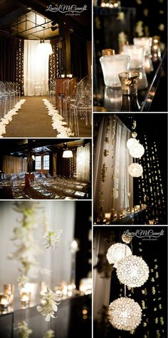 Black & gold wedding  Talk about INSPIRING!!!! Totally classy and would be SO unexpected by your guests:) And the Lillys would smell so freaking good to boot.So many good emotions wrapped in one room...one night...very memorable.