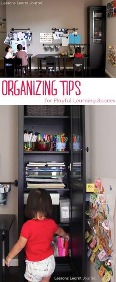 Organizing tips for playful learning: Keeping things readily available is key. ~via Lessons Learnt Journal. Play Spaces, Learning Spaces, Learning Centers, Kid Spaces, Journal Organization, Classroom Organisation, Organization Hacks, Organizing Tips, Organising